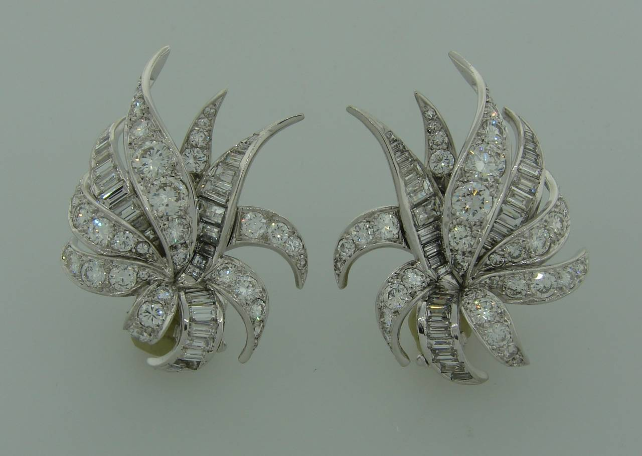 1930s Chaumet Paris Diamond Platinum Earrings 2