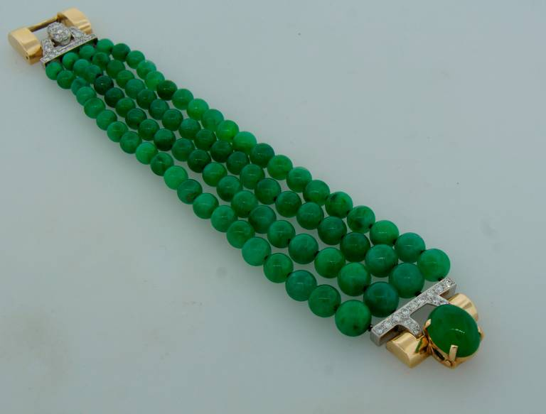 Women's 1940s Jade Bead Diamond Yellow Gold Bracelet For Sale