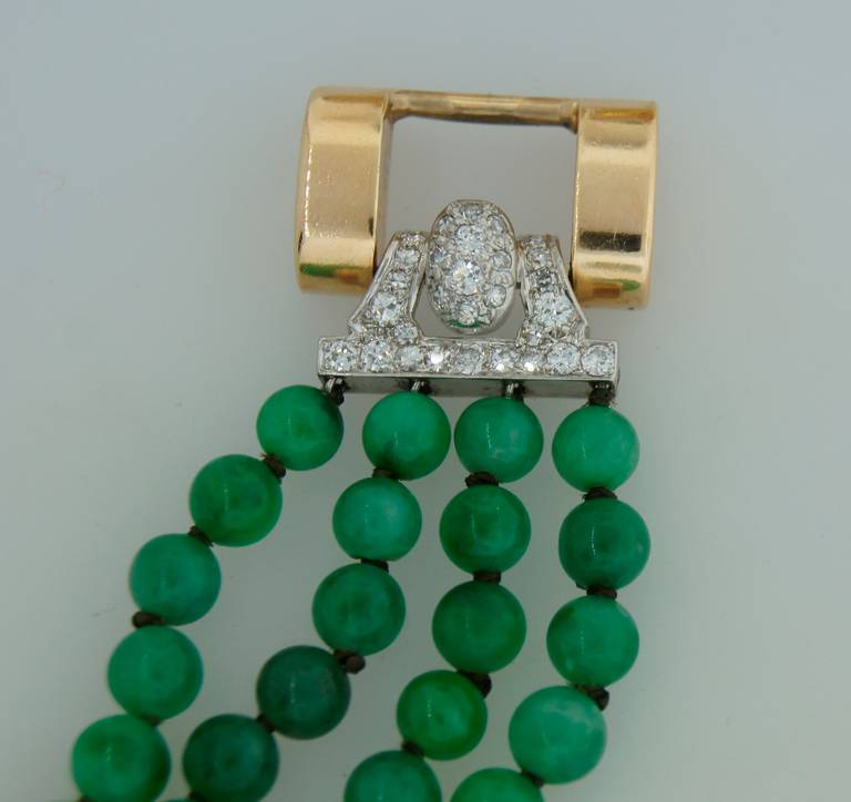 1940s Jade Bead Diamond Yellow Gold Bracelet For Sale 5