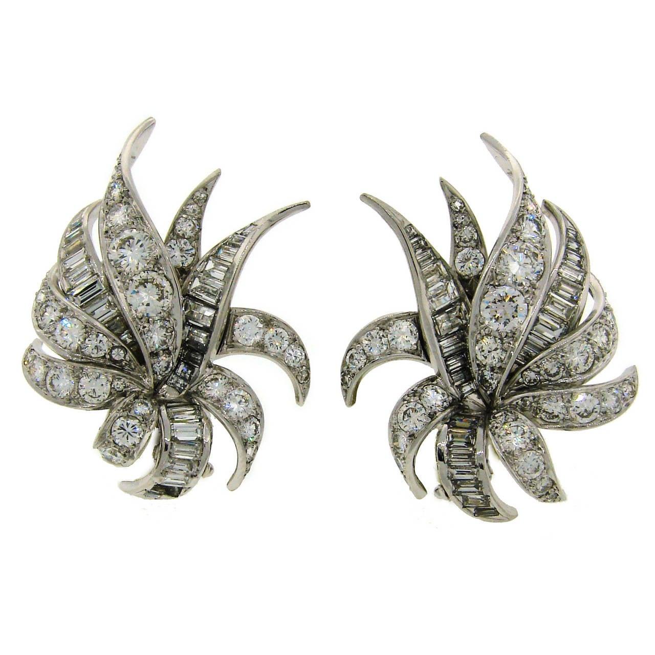1930s Chaumet Paris Diamond Platinum Earrings 1