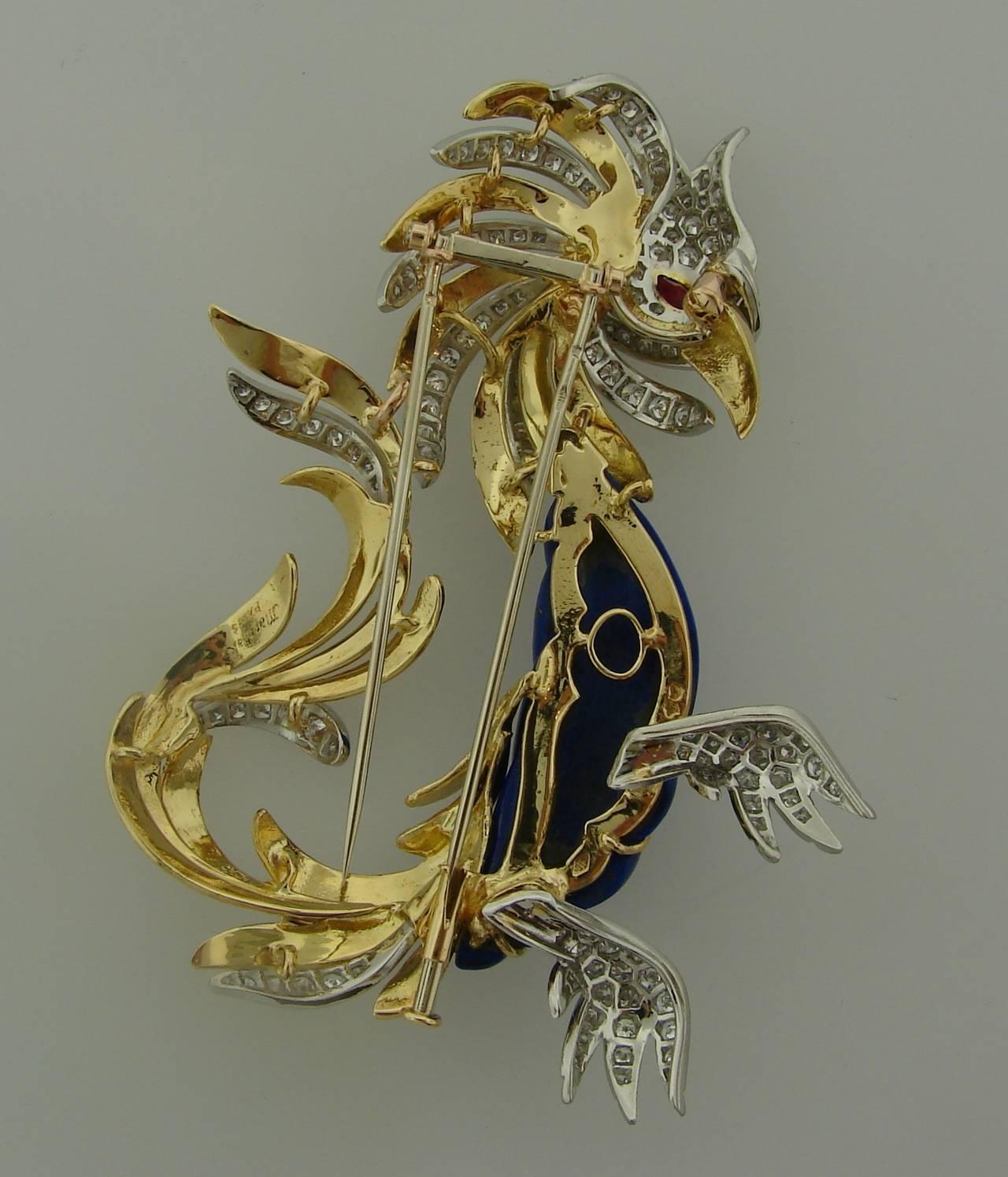 Marchak Lapis Lazuli Ruby Diamond Gold Platinum  Firebird Pin Brooch For Sale 2