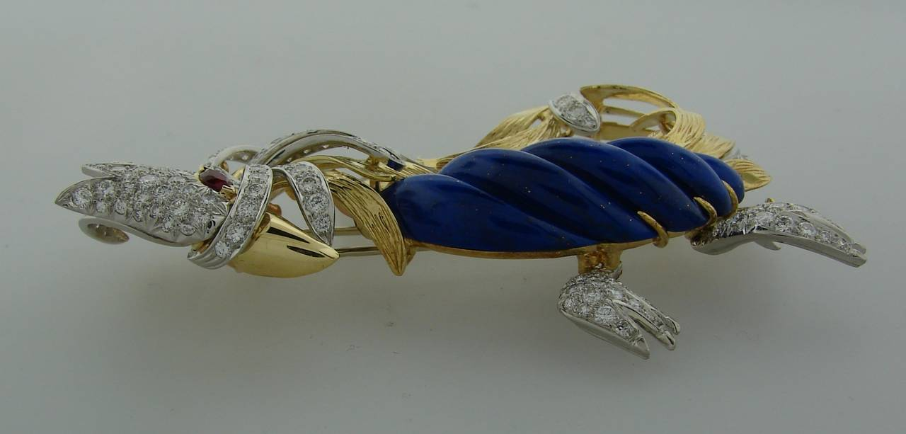 Women's or Men's Marchak Lapis Lazuli Ruby Diamond Gold Platinum  Firebird Pin Brooch For Sale