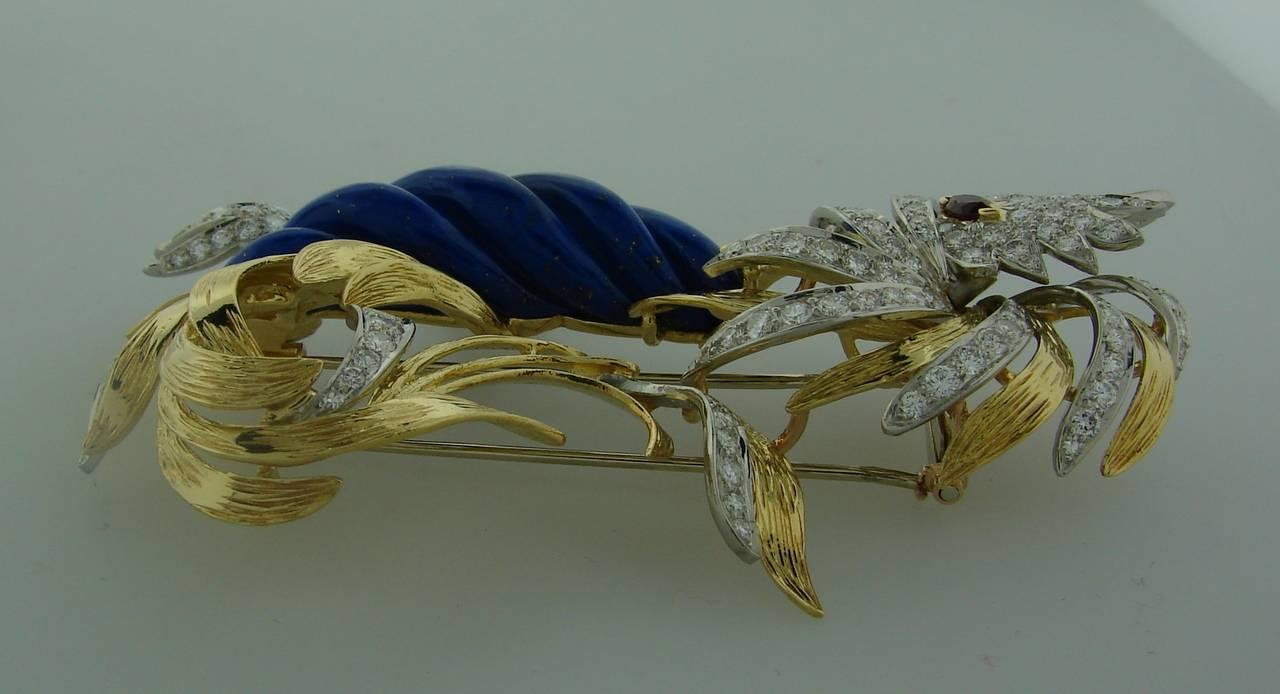 Marchak Lapis Lazuli Ruby Diamond Gold Platinum  Firebird Pin Brooch For Sale 1