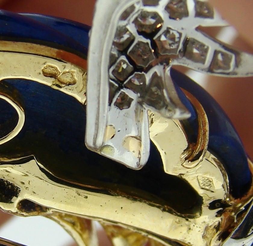 Marchak Lapis Lazuli Ruby Diamond Gold Platinum  Firebird Pin Brooch For Sale 4