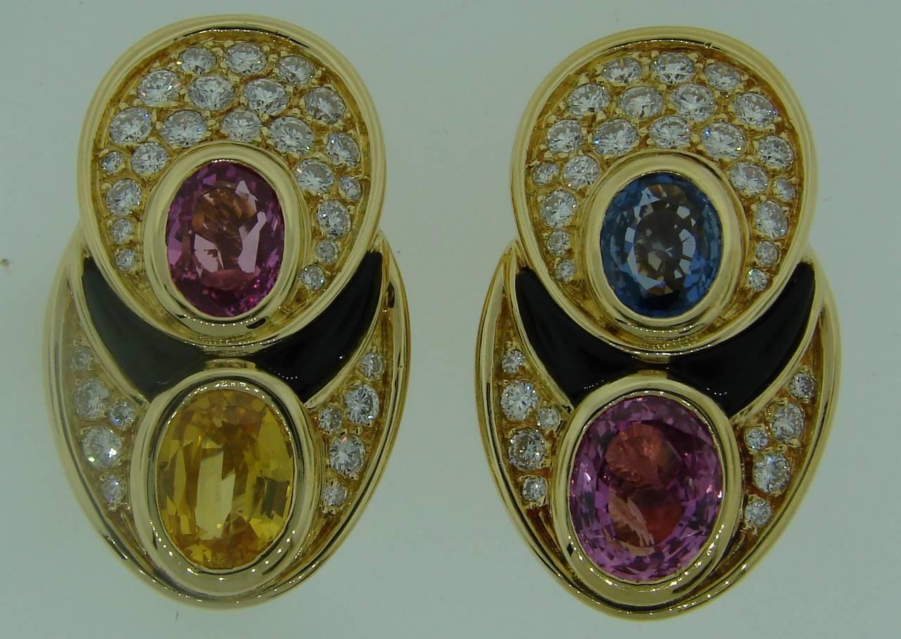 1980s Marina B Sapphire Diamond Gold Earrings 3