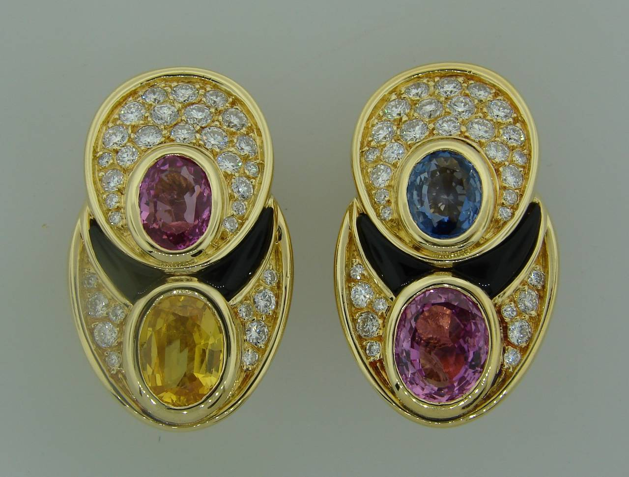 1980s Marina B Sapphire Diamond Gold Earrings 2