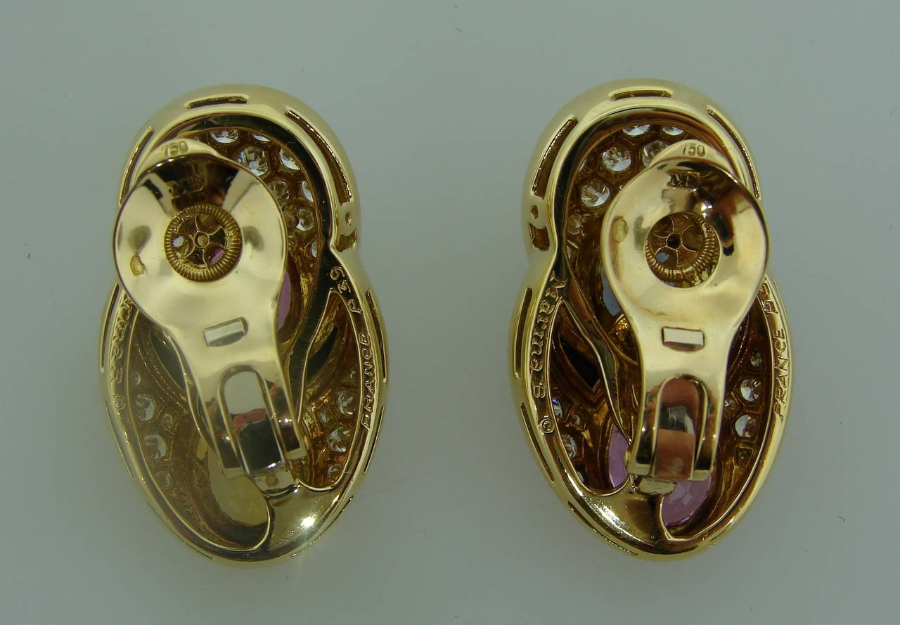 1980s Marina B Sapphire Diamond Gold Earrings For Sale 1
