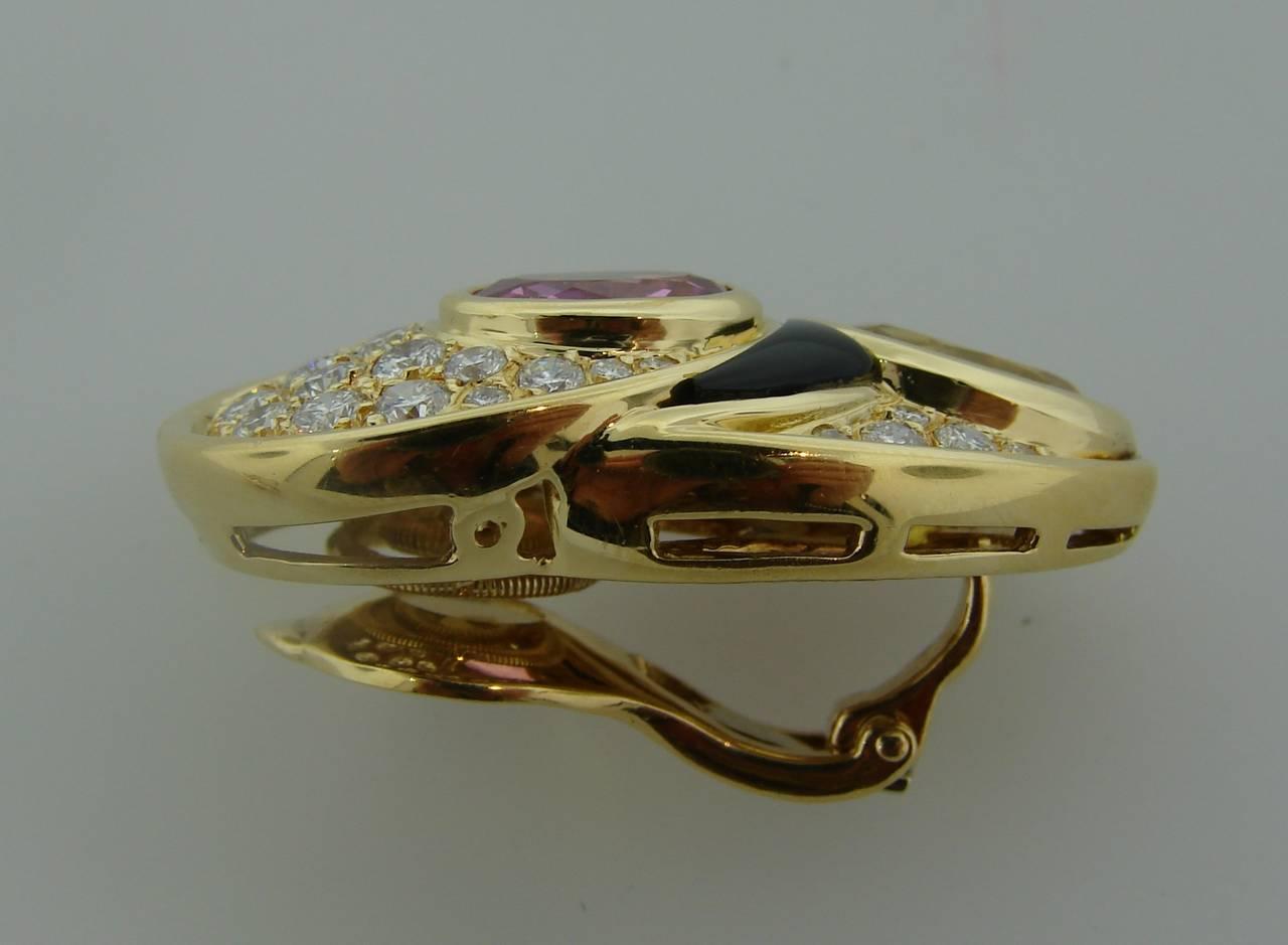 Women's 1980s Marina B Sapphire Diamond Gold Earrings For Sale