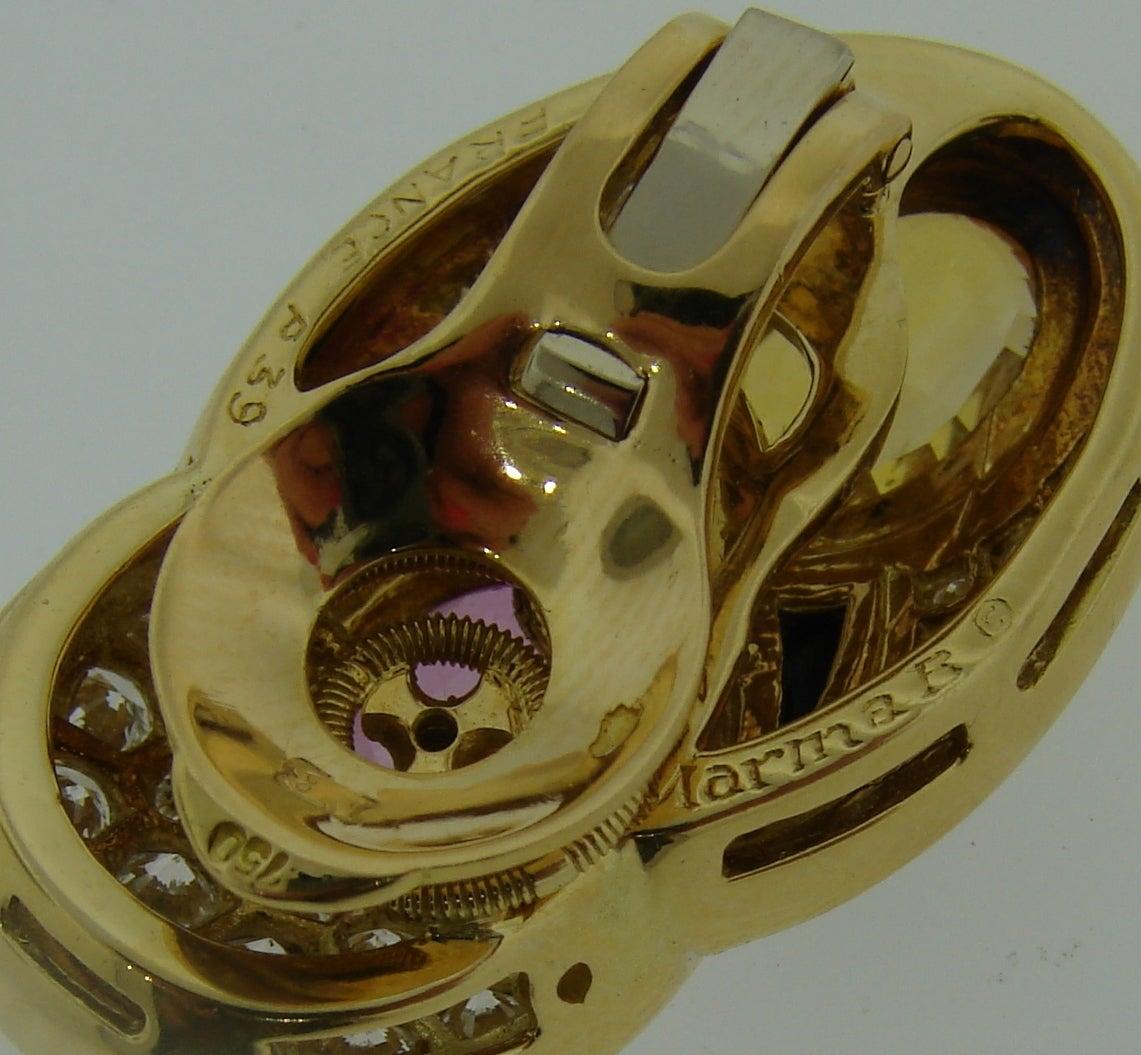 1980s Marina B Sapphire Diamond Gold Earrings For Sale 2