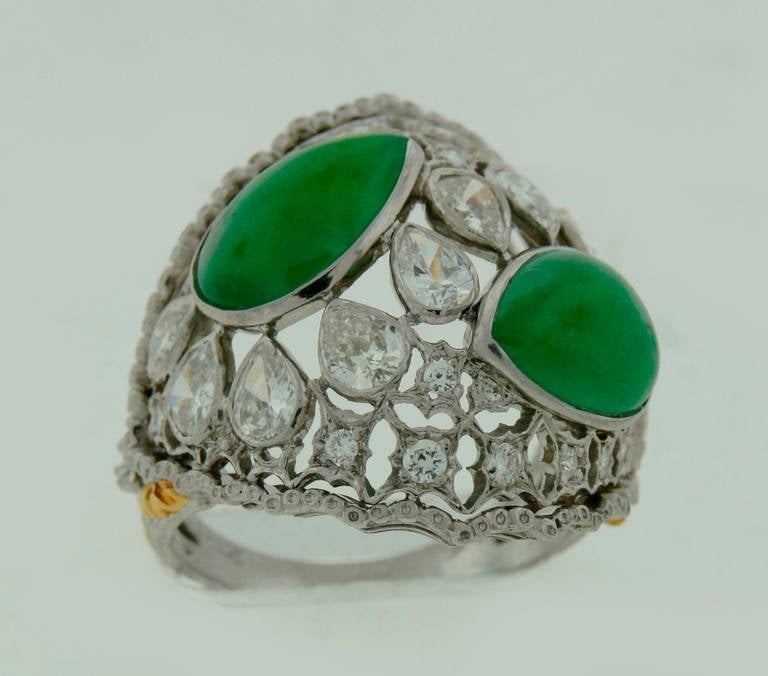 Buccellati Jade Diamond Platinum Ring circa 1970s For Sale 1