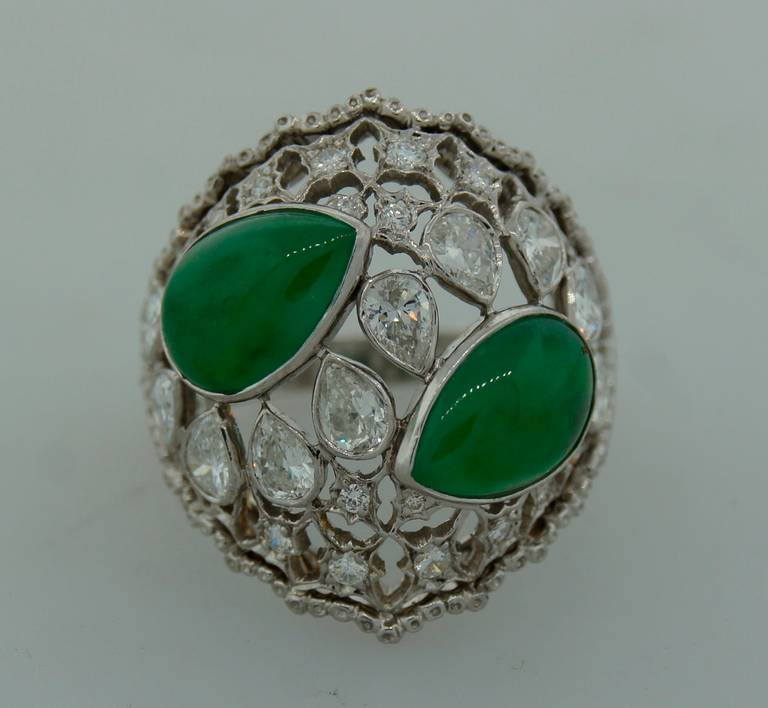 Buccellati Jade Diamond Platinum Ring circa 1970s In Excellent Condition For Sale In Beverly Hills, CA
