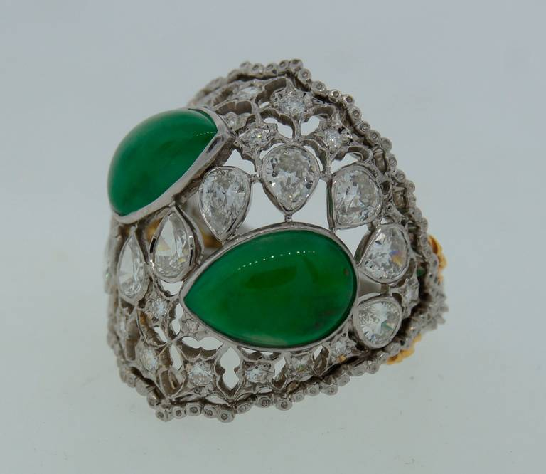 Women's Buccellati Jade Diamond Platinum Ring circa 1970s For Sale