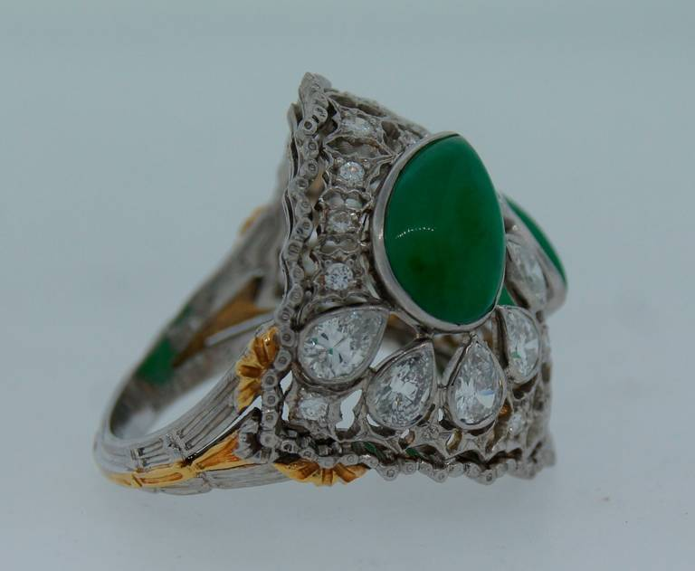 Buccellati Jade Diamond Platinum Ring circa 1970s For Sale 2