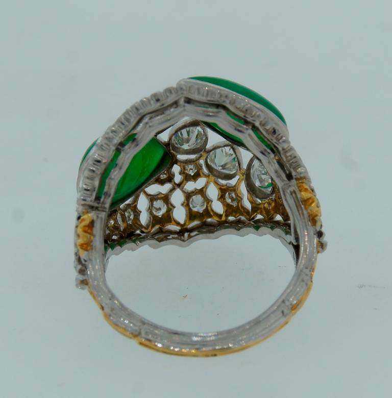 Buccellati Jade Diamond Platinum Ring circa 1970s For Sale 3