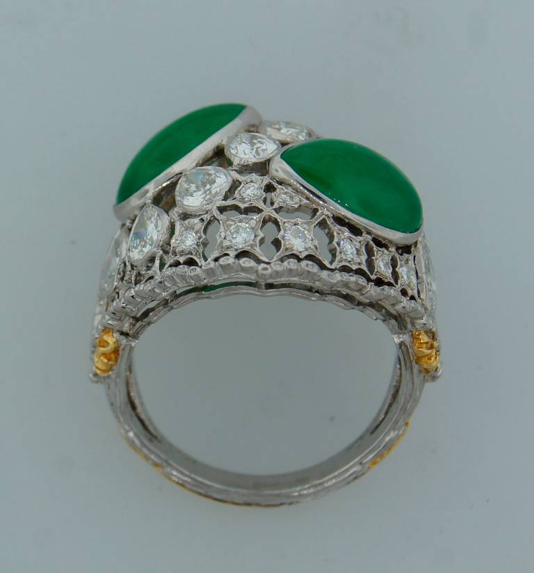 Buccellati Jade Diamond Platinum Ring circa 1970s For Sale 4