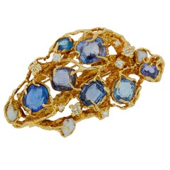 Arthur King Pearl Sapphire Diamond Yellow Gold Brooch Pin circa 1960s