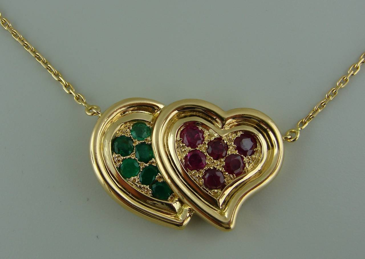 1950s RENE BOIVIN Ruby Emerald Yellow Gold Heart Pendant Necklace 4