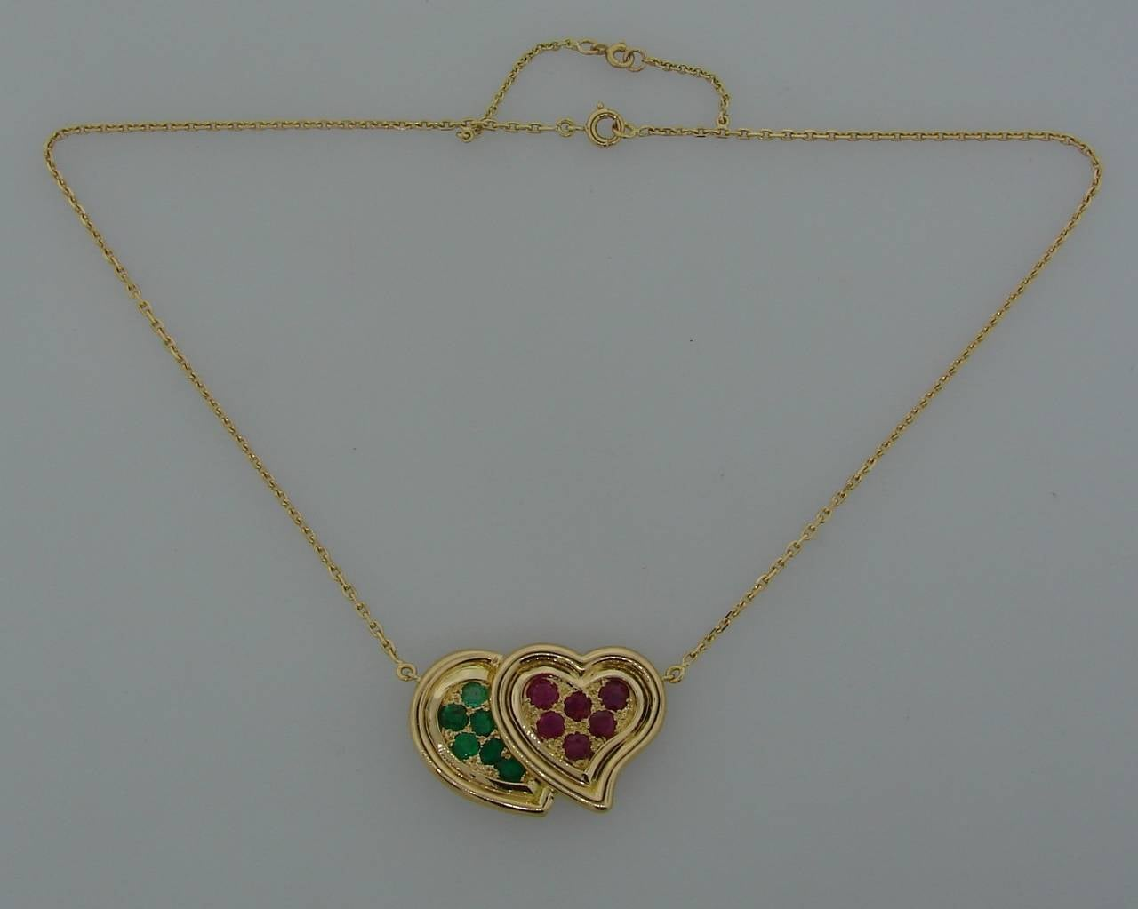 1950s RENE BOIVIN Ruby Emerald Yellow Gold Heart Pendant Necklace 5