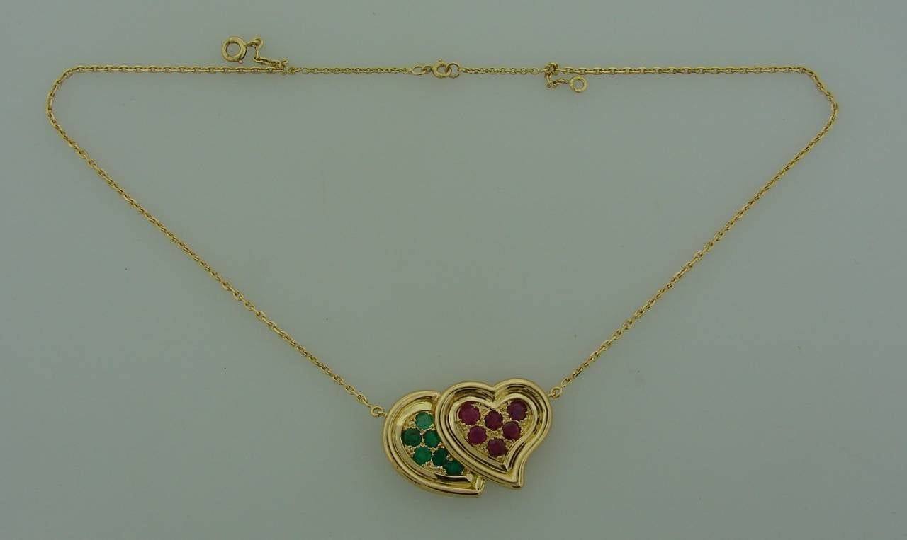 1950s RENE BOIVIN Ruby Emerald Yellow Gold Heart Pendant Necklace 3