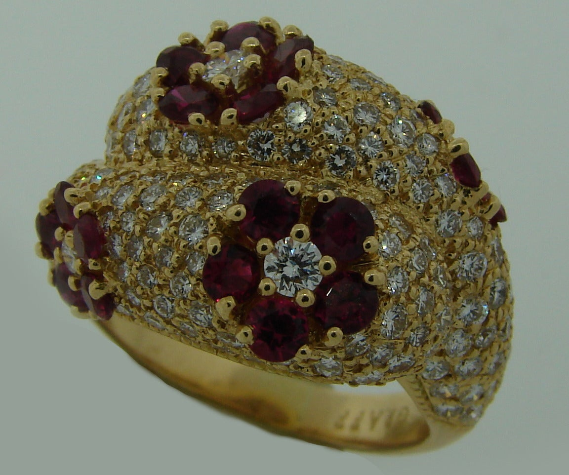 Women's 1980s Graff Ruby Diamond Yellow Gold Cocktail Ring For Sale