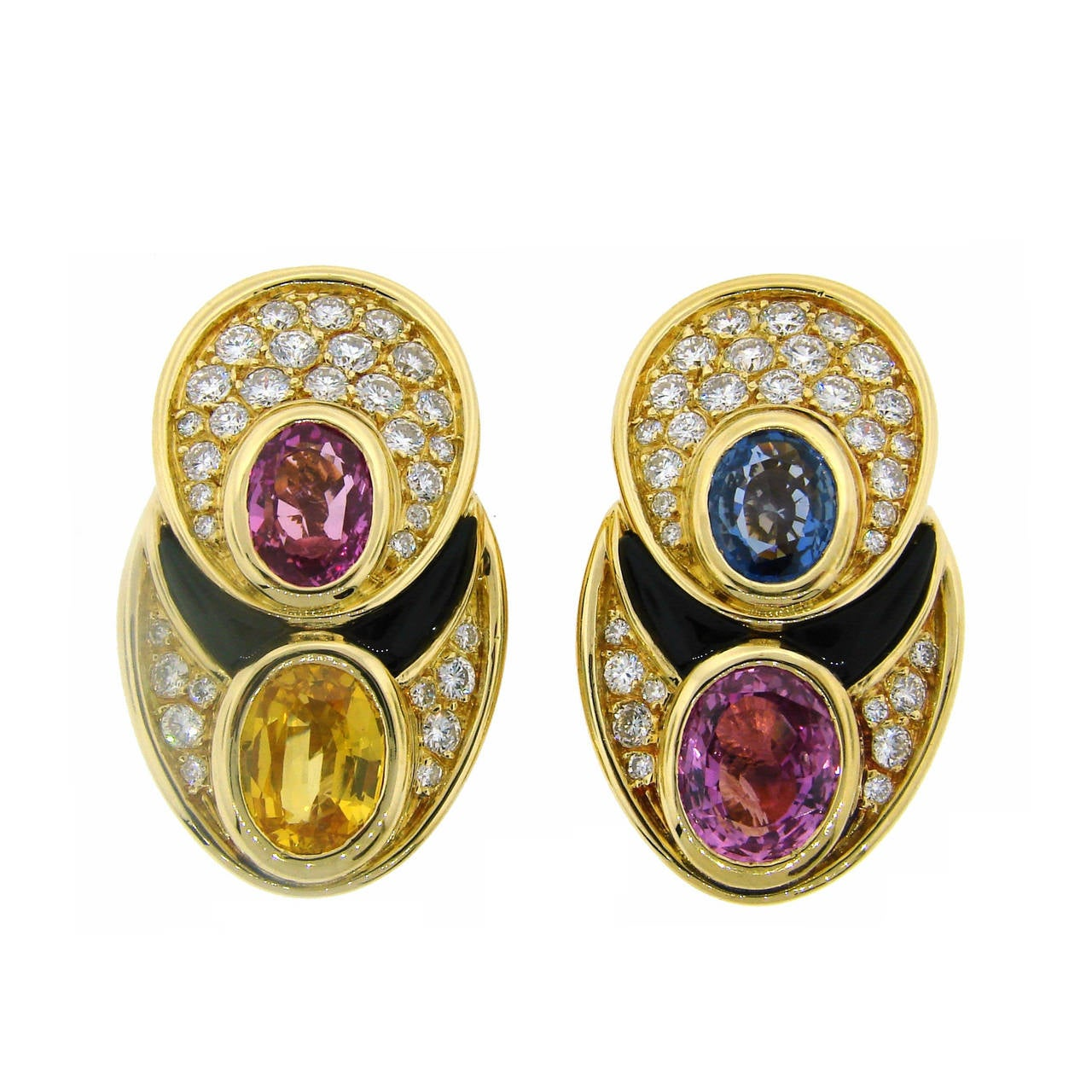 1980s Marina B Sapphire Diamond Gold Earrings