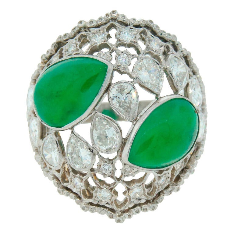 Buccellati Jade Diamond Platinum Ring circa 1970s For Sale