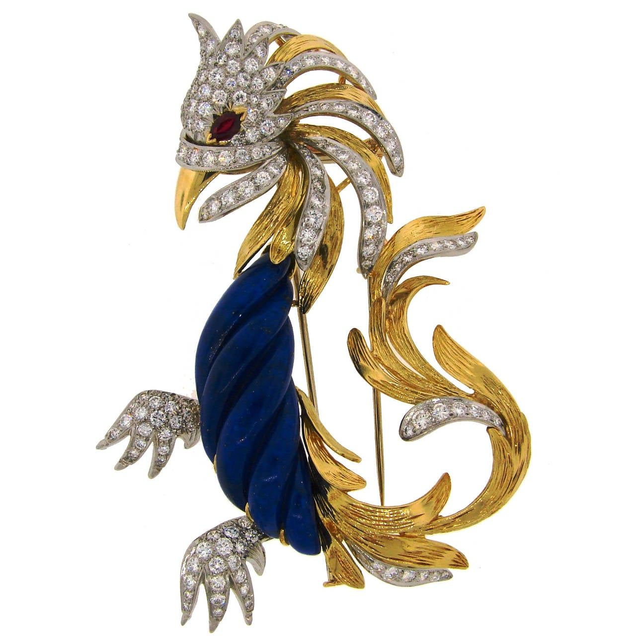 Marchak Lapis Lazuli Ruby Diamond Gold Platinum  Firebird Pin Brooch
