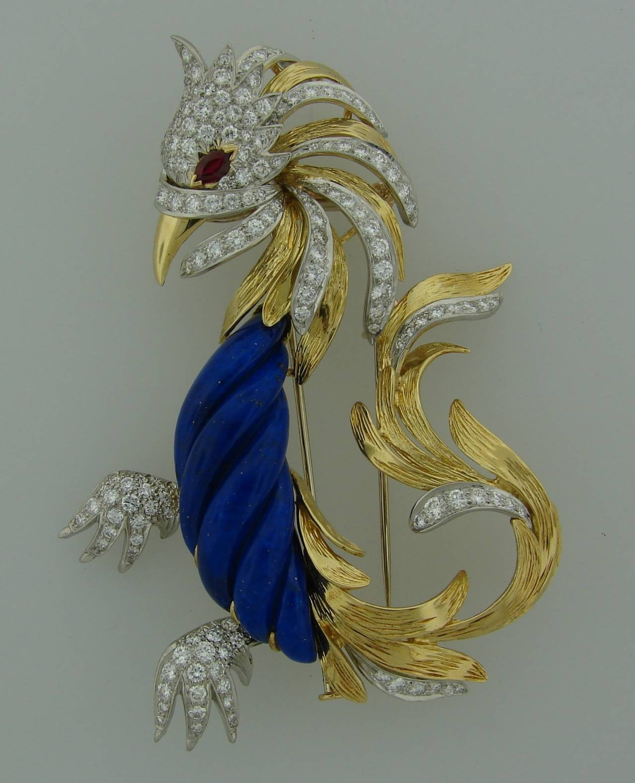 Fabulous pin created by a French high-end jewelry house Marchak. All pieces are handmade and exquisite. Small series made. Marchak's jewelry is highly collectible, especially older pieces that they don't make any longer.  This chic stylized