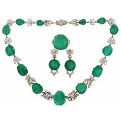 Art Deco Mauboussin Platinum Necklace Ring Earrings Set Emerald Diamond