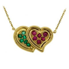 1950s RENE BOIVIN Ruby Emerald Yellow Gold Heart Pendant Necklace