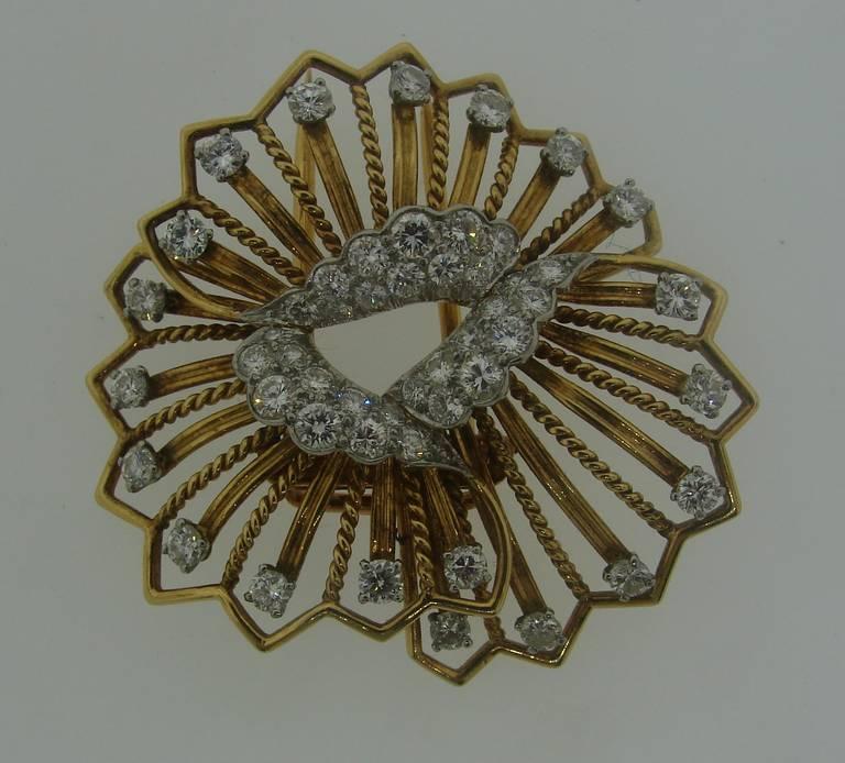 Women's Cartier Diamond Yellow Gold Brooch Pin For Sale