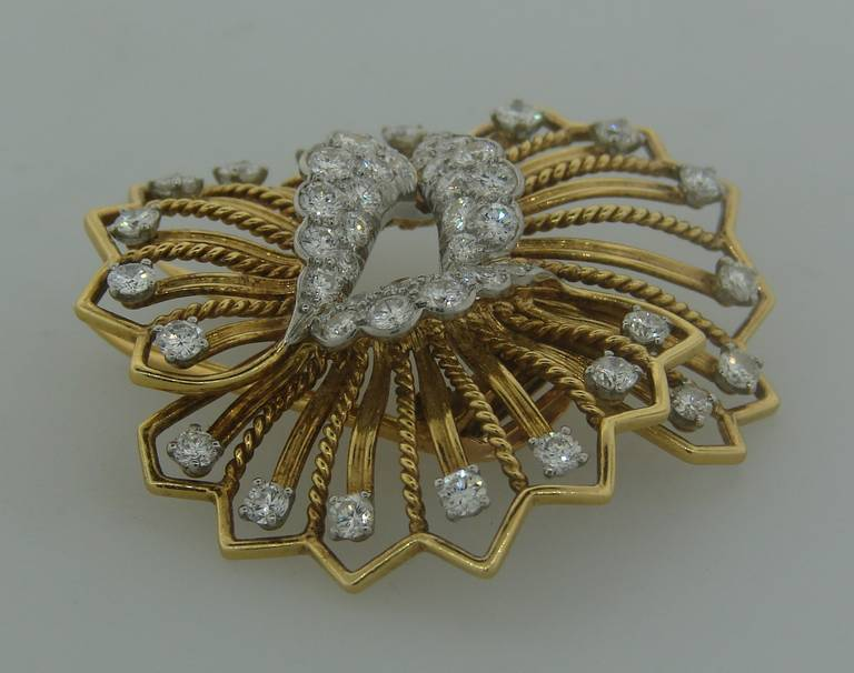 Cartier Diamond Yellow Gold Brooch Pin For Sale 1