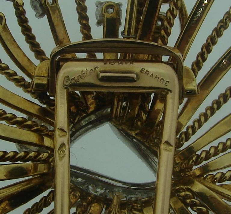 Cartier Diamond Yellow Gold Brooch Pin For Sale 2