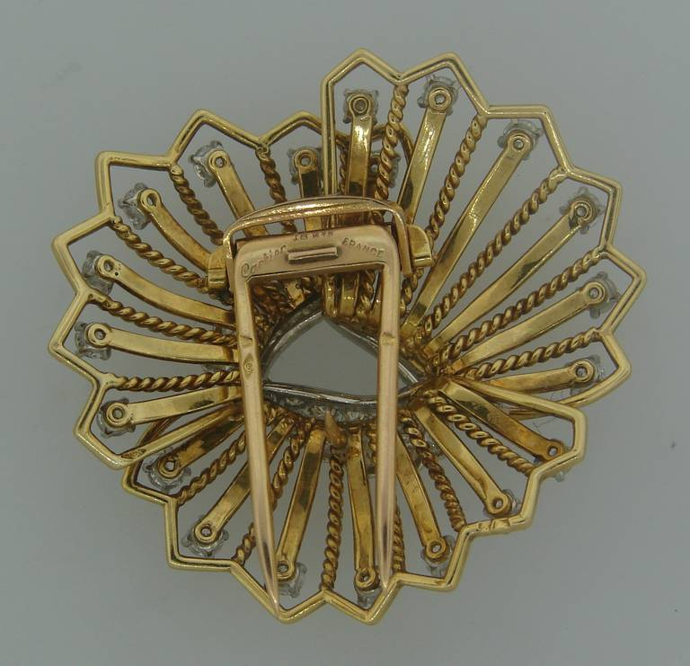 Cartier Diamond Yellow Gold Brooch Pin For Sale 3
