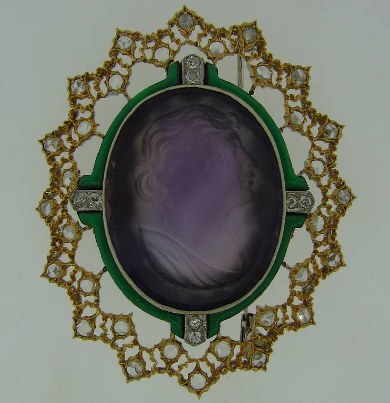 Gorgeous cameo brooch created by Buccellati in Italy in the 1970's. Beautiful carved on amethyst woman's profile, tasteful color combination, delicate gold and rose cut diamond frame - are the highlights of this lovely pin.