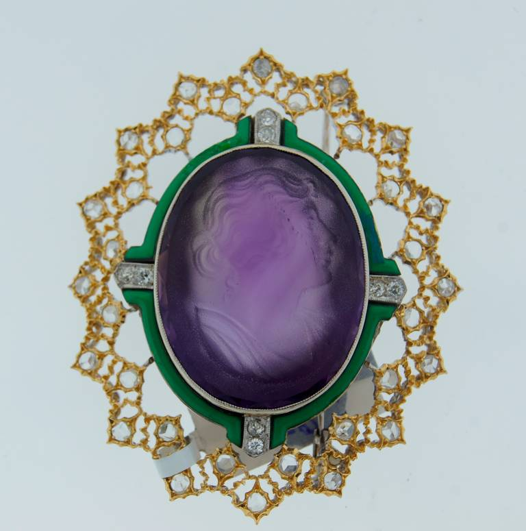Buccellati Carved Amethyst Cameo Enamel Diamond Gold Brooch Pin In Excellent Condition For Sale In Beverly Hills, CA
