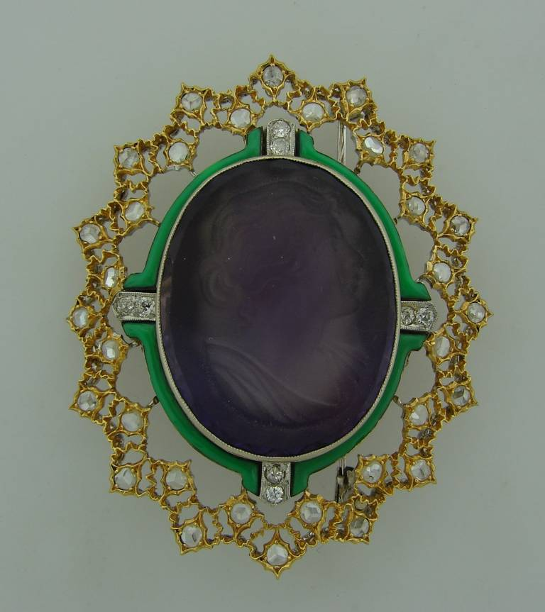 Women's Buccellati Carved Amethyst Cameo Enamel Diamond Gold Brooch Pin For Sale