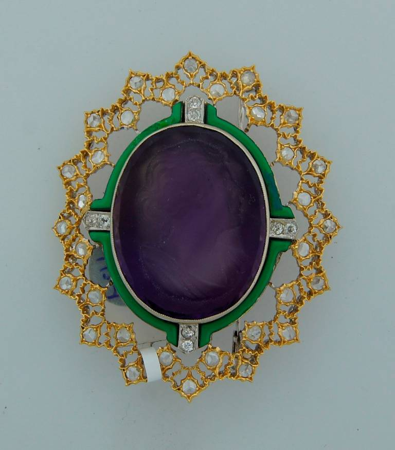 Buccellati Carved Amethyst Cameo Enamel Diamond Gold Brooch Pin For Sale 1