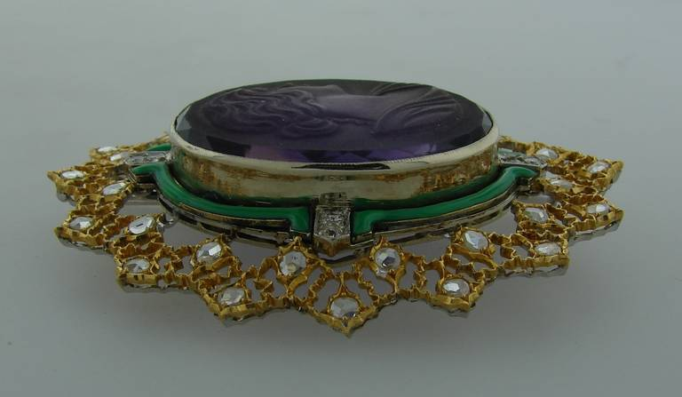 Buccellati Carved Amethyst Cameo Enamel Diamond Gold Brooch Pin For Sale 2