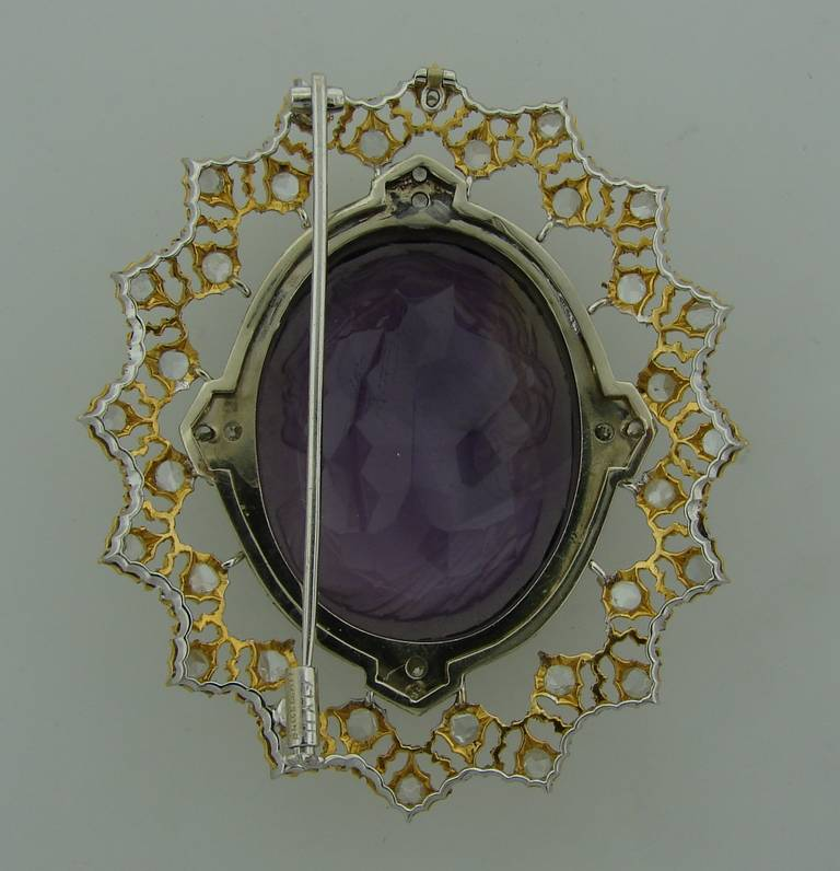 Buccellati Carved Amethyst Cameo Enamel Diamond Gold Brooch Pin For Sale 3