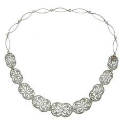 Edwardian Diamond Platinum Necklace