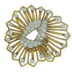 Cartier Diamond Yellow Gold Brooch Pin