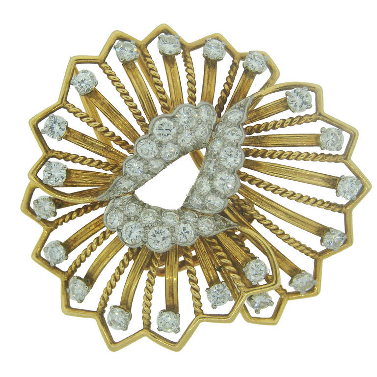 Cartier Diamond Yellow Gold Brooch Pin For Sale