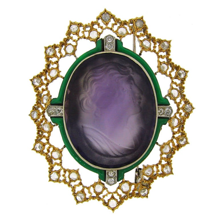 Buccellati Carved Amethyst Cameo Enamel Diamond Gold Brooch Pin For Sale