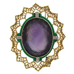 Buccellati Carved Amethyst Cameo Enamel Diamond Gold Brooch Pin