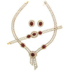 M. Gerard Ruby Diamond Yellow Gold Necklace Earrings and Bracelet Set