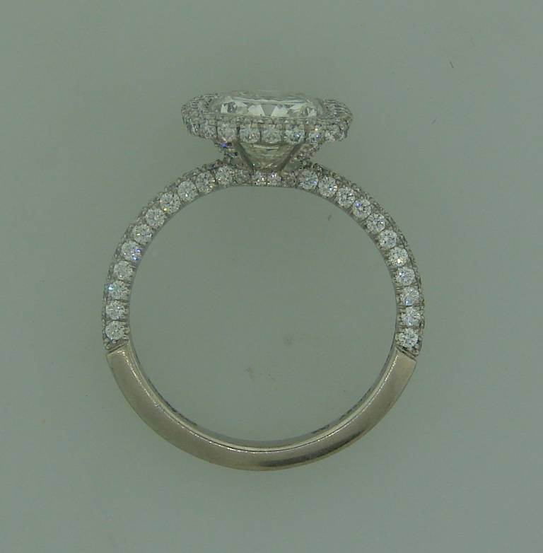 De Beers 2 24 Carat Cushion Cut Diamond Platinum Solitaire Ring at 1stdibs