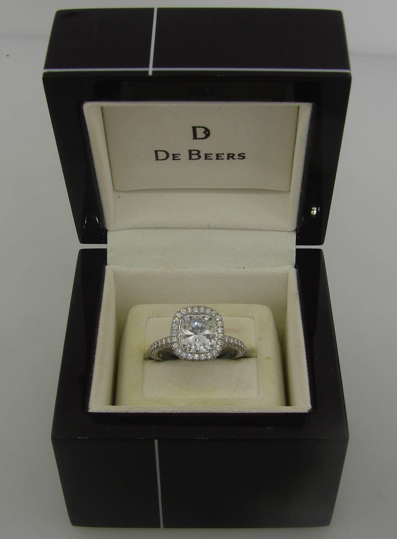 De Beers 2 24 Carat Cushion Cut Diamond Platinum Solitaire