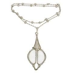 Edwardian Diamond Platinum Lorgnette on Diamond White Gold Chain