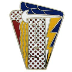 Roy Lichtenstein Pop Art Enamel Silver Metal Figurative Brooch / Pendant